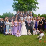 Bild: Alla gäster, bröllop Västerhaninge hembyggdsgård