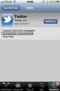 AppStore Twitter update screenshot