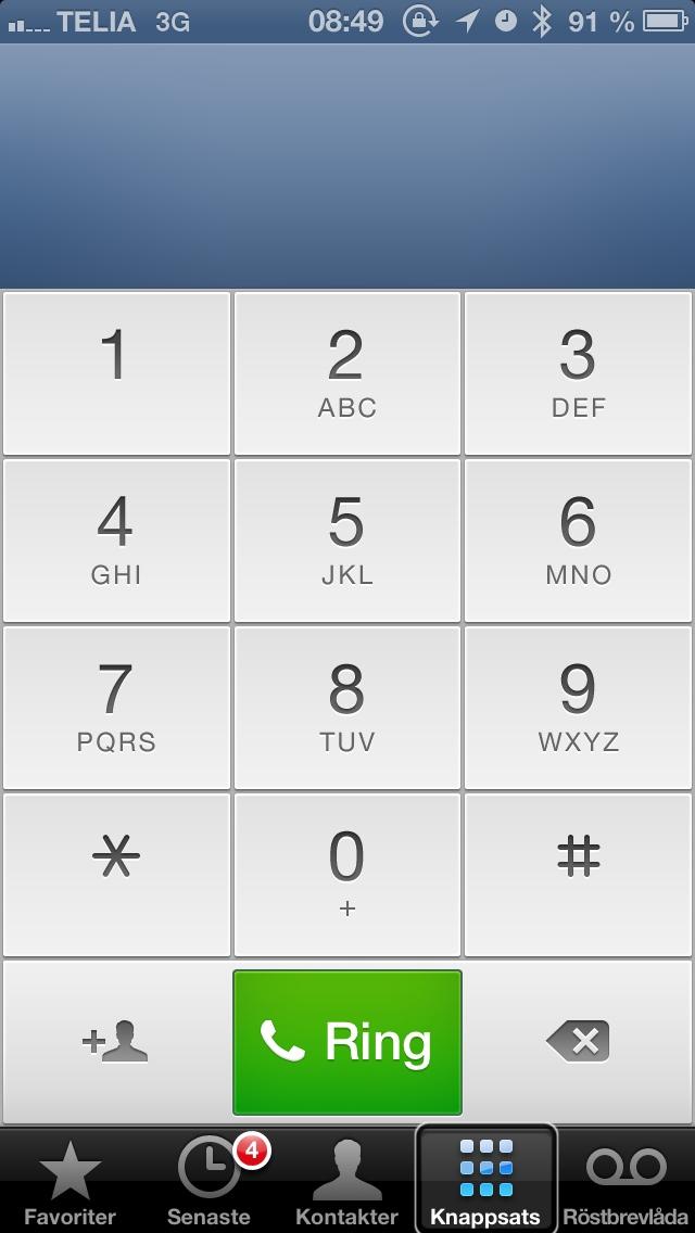 Bild: iPhone skärmdump visar telefonapp