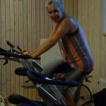 Bild: Catarina Temse Andersson på spinningcykel