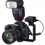 Bild: Canon GP-E2 GPS monterad på kamera med AB-E1 tillbehörsskena