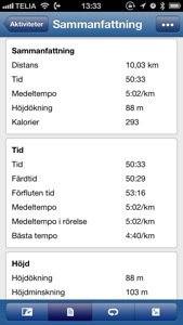 Bild: Skärmdump från Garmin Connect cykling