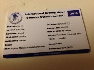 Bild: En tävlingslicens från Svenska Cykelförbundet