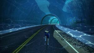 Bild: Zwift-cyklist längs banan Figure 8 i Watopia