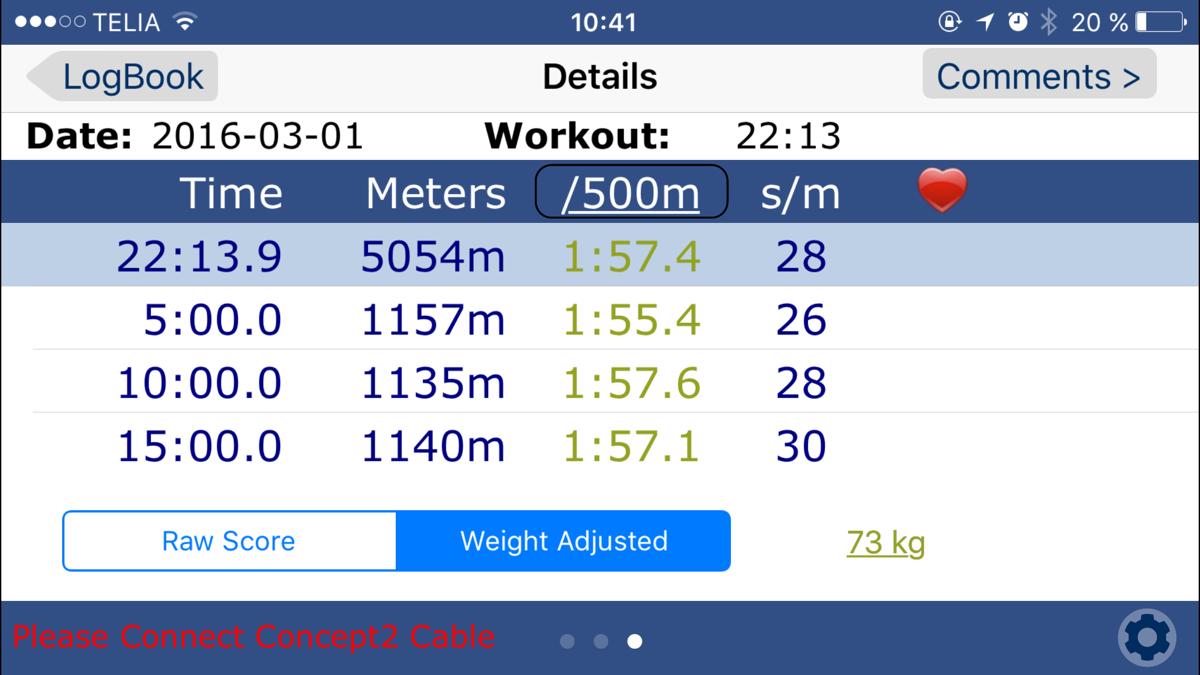 Bild: Skärmdump från träningsapp ErgData