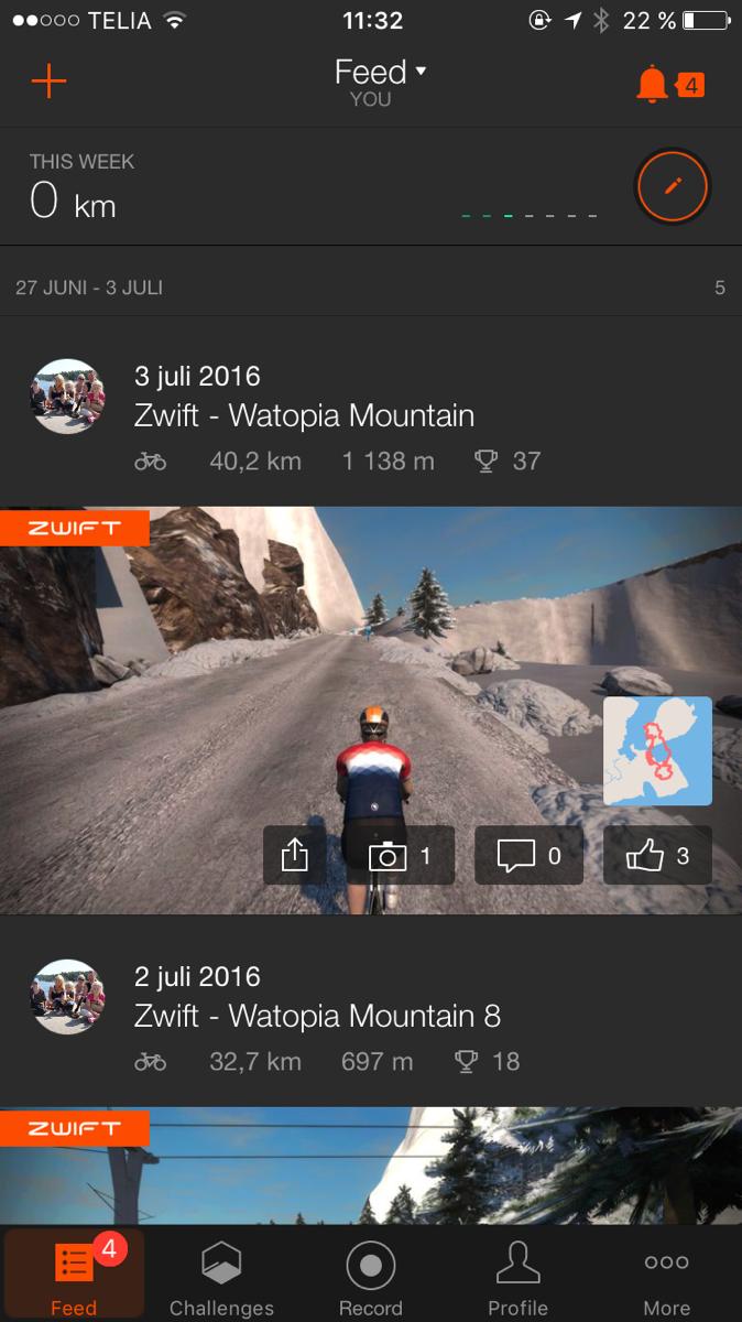 Bild: skärmdump från Strava för iPhone