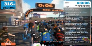 Bild: Zwift race, 5 sekunder till start