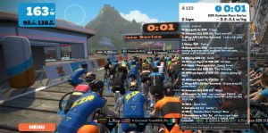 Bild: Zwift Race, 2 sekunder till start